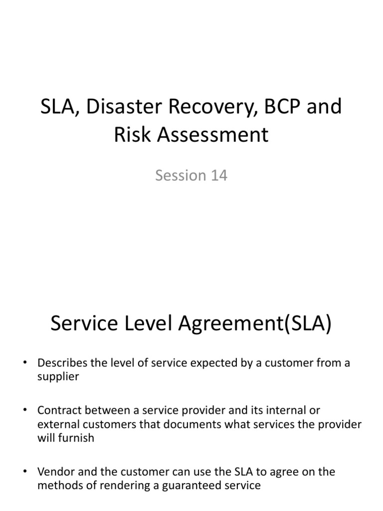 Sla Disaster Recovery Bcp And Risk Risk Management Business