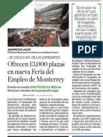 21-02-18 Ofrecen 13,000 plazas  en nueva Feria del  Empleo de Monterrey