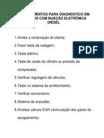 Procedimentos Para Diagnóstico Em Veículos Com Injeção Eletrônica Diesel