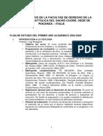 Plan de Estudios de La Facultad de Derecho de La Universidad Cattolica Del Sacro Cuore (1)