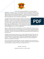 Welcome Letter From the CO of CLR-15