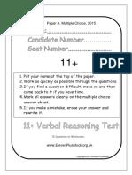 Verbal11+PaperA2015