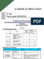 Planificação da disciplina de MACS 2 = 2009-2010 reduzida