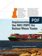 Implementing the IMO PSPC for Ballast Water Tanks