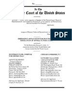Pennsylvania Redistricting Case - Emergency Application to SCOTUS for Stay 2-21-2018