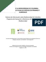 Catálogo de La Biodiversidad de Colombia Colecciones de Fichas de Especies en Páramos y Humedales.