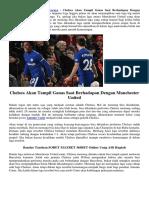 Chelsea Diminta Tampil Ganas Saat Berhadapan Dengan Manchester United