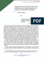 El Llamado de Uso Exclusivo de La Ley de Propiedad en Condominio en El DF