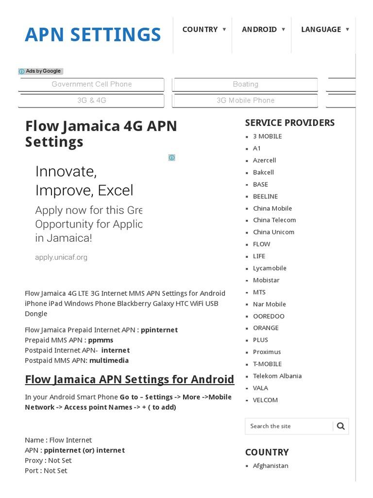Flow Jamaica 4G APN Settings - APN Settings | 4 G | Videotelephony
