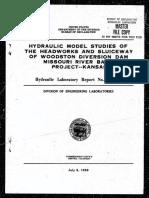 HYD-451 - Hydraulic Model Studies of the Headworks and Sluiceway of Woodston