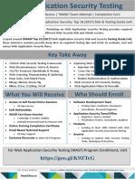 SelfPaced Online Workshop On Web AppSec Testing.