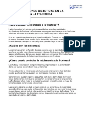 Dieta intolerancia fructosa y sorbitol pdf