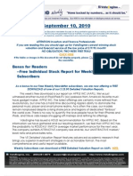 ValuEngine Weekly Newsletter September 10, 2010