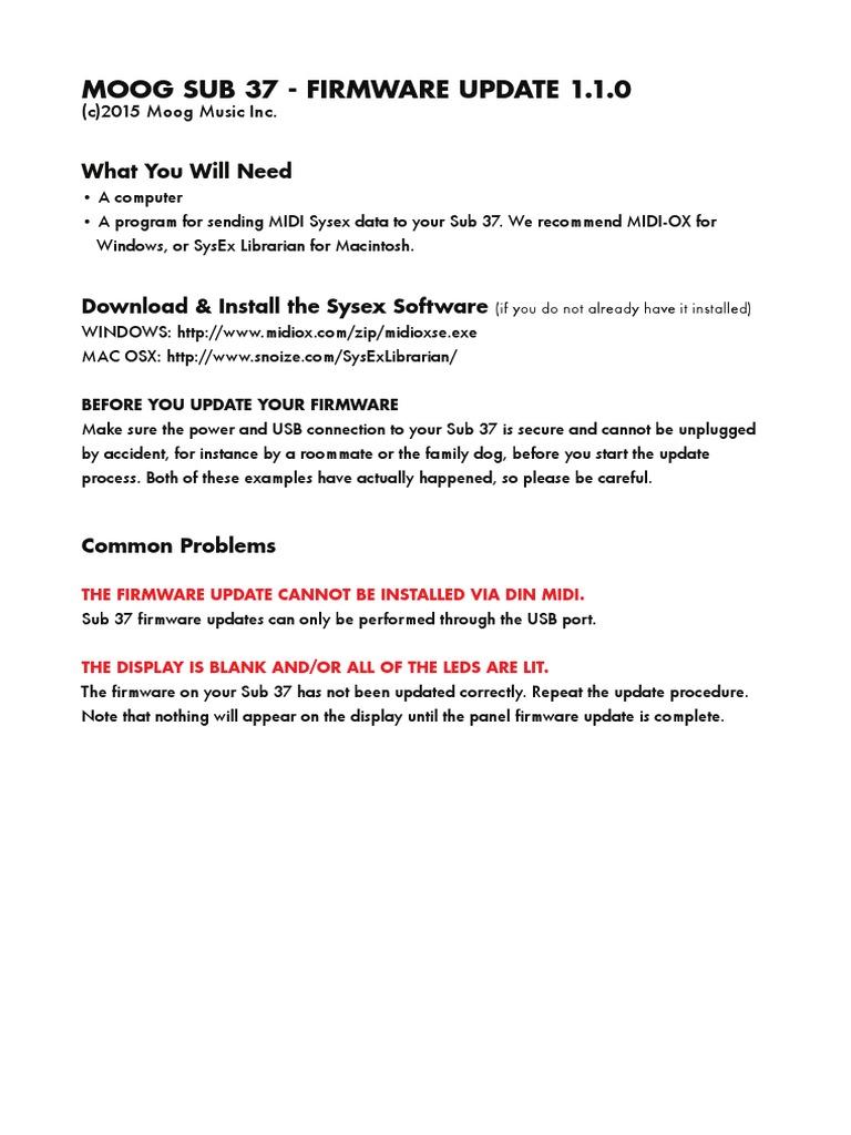 Sub 37 Update Instructions v1 1 0 | Synthesizer | Usb