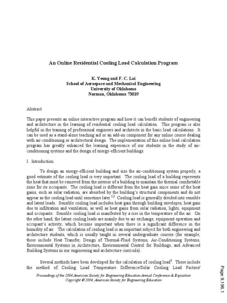 An Online Residential Cooling Load Calculation Program | Air