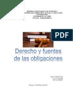 Derecho y Fuentes de Las Obligaciones