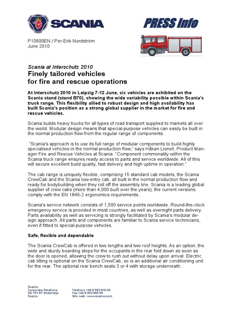 Fire And Rescue Trucks From Scania Engine Diesel Truck Wiring Diagram