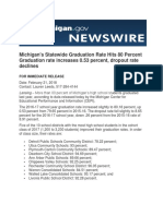 Michigan's Statewide Graduation Rate Hits 80 Percent Graduation rate increases 0.53 percent, dropout rate declines