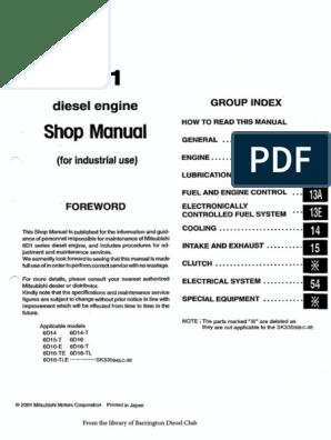 Mitsubishi 6d14!15!16 Workshop Manual 335 Pages   Horsepower   Engines