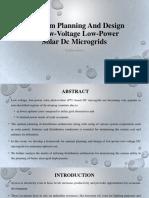 Optimum Planning and Design of Low-Voltage Low-Power Solar