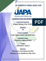 Tarea 2 Filosofía y Lógica Jurídica 14-02-2018
