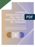 LA MÚSICA RENACENTISTA COMO UNA ETAPA DE LA EVOLUCIÓN CONTINUA DEL TONALISMO1