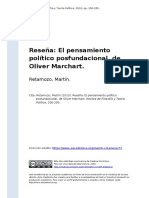 Retamozo, Martin (2010). Resena El Pensamiento Politico Posfundacional, De Oliver Marchart