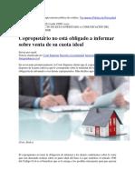 Informacion.- Derecho a Retracto - Copropietario Que Vende Su Cuota No Esta Obligado a Informar