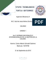 NORMAS NACIONALES E INTERNACIONALES DE LA GESTIÓN DE LA CALIDAD