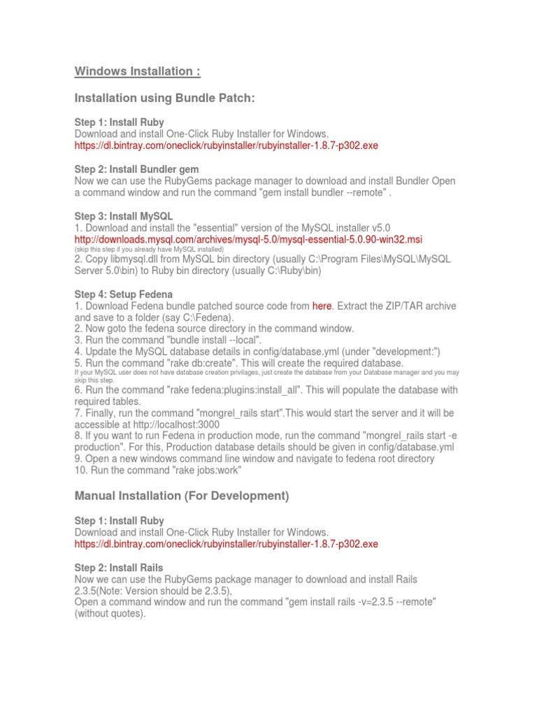Windows Installation FEDENA | My Sql | Installation (Computer Programs)