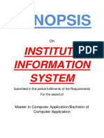 109 Institute Information System Synopsis