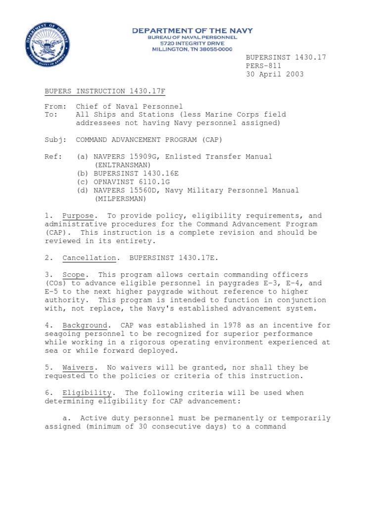 bupersinst 1430 17 command advancement program cap united states rh scribd com navy personnel manual chapter 1440-010 navy personnel manual chapter 1440
