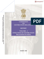 Evolution of Centre State Relations in India