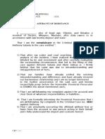 Affidavit of Desistance Solo