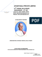 The Sadvaidyasla Private Limited Catalogue of Medicines