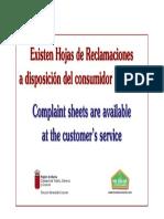 Cartel Informativo de Hojas de Reclamaciones