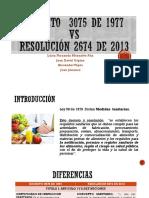 DECRETO-3075-DE-1977-Vs-RESOLUCIÓN-2674-DE-2013