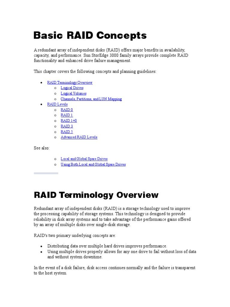 Basic RAID Concepts | Fault Tolerance | Information Technology
