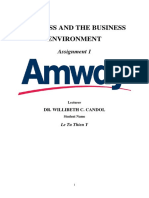 BUSINESS AND THE BUSINESS ENVIRONMENT AMWAY - Le Tu Thien Y