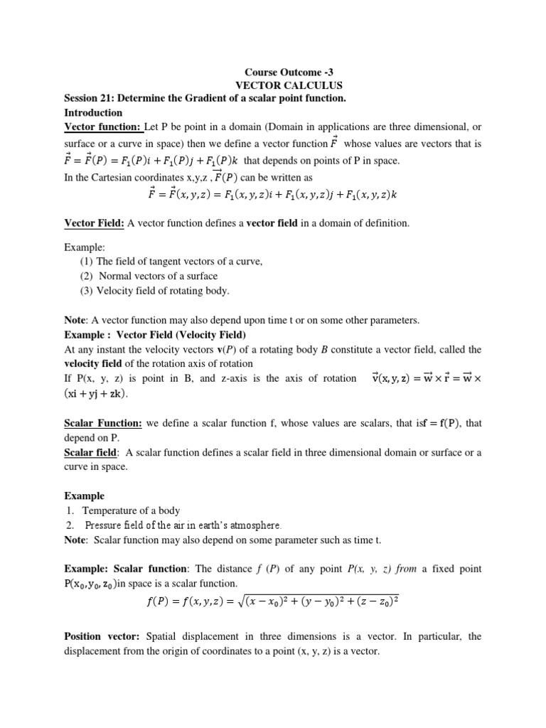 Co-3 Course Material (Vector Calculus) | Gradient | Euclidean Vector