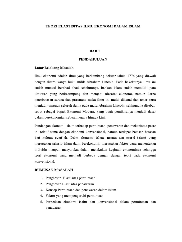 Teori Elastisitas Ilmu Ekonomi Dalam Islam