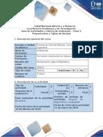 Guía de actividades y rúbrica de evaluación – Paso 2 Proposiciones y Tablas de Verdad