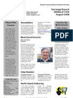 August 2008 Tauranga, Royal Forest and Bird Protecton Society Newsletter