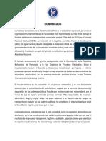 Comunicado CVC - Rechazo Llamado a Elecciones #22abril
