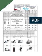 gdo price sheet