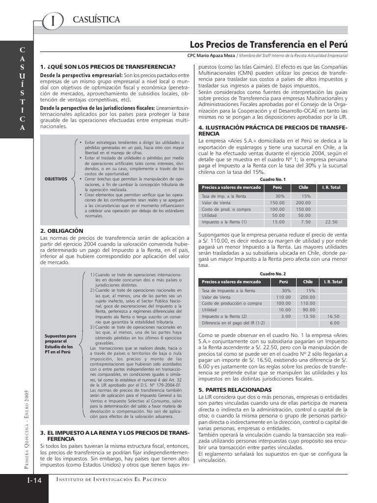 Peru Precios Transferencia Pdf Depreciacion Impuestos
