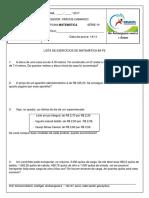 Lista de Matemática 6º Ano Profº Vinícius p2 IV Bim