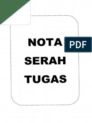 Contoh Nota Serah Tugas Pdf