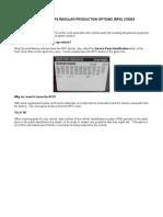 GENERAL MOTORS REGULAR PRODUCTION OPTIONS (RPO) CODES