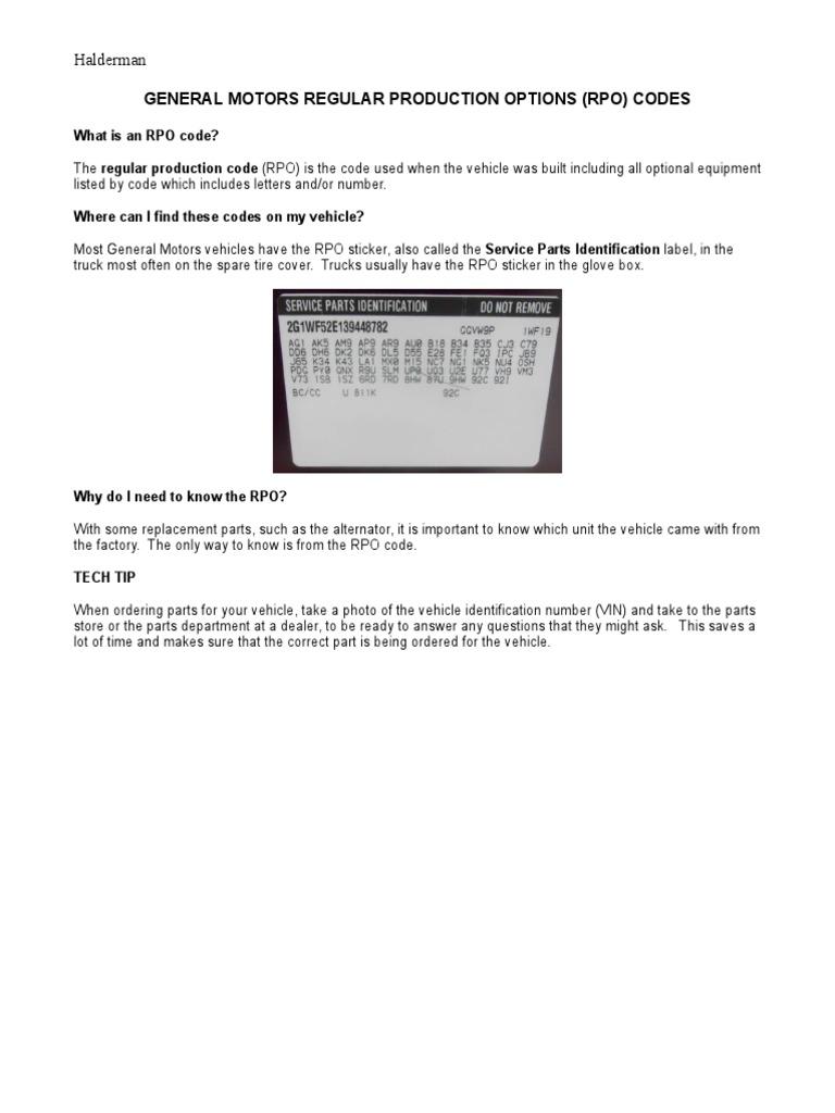 GENERAL MOTORS REGULAR PRODUCTION OPTIONS (RPO) CODES | Grey